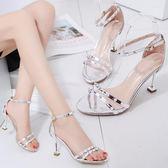 性感露趾鉚釘細跟涼鞋夏季新款高跟女鞋 sxx1161 【衣好月圓】