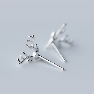 925純銀耳環(耳針式)-時尚藝術麋鹿生日情人節禮物女飾品73dr24【時尚巴黎】