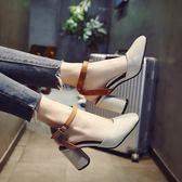 女士涼鞋女春2018新款韓版百搭時尚一字扣包頭粗跟高跟鞋羅馬鞋子 桃園百貨