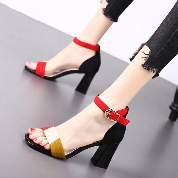 特惠 高跟鞋粗跟拼色時尚涼鞋夏季天天大東露趾性感一字扣羅馬女鞋