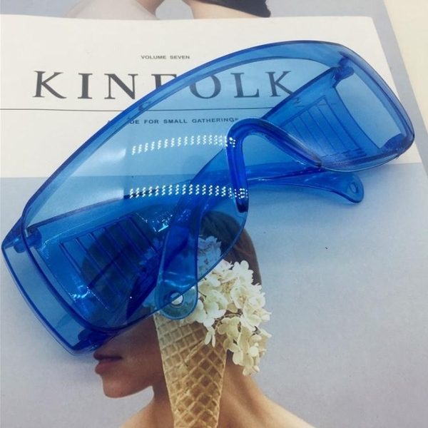 透明大框防風鏡 凹造型百搭眼鏡護目鏡太陽鏡【多多鞋包店】j52