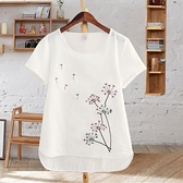 夏季女裝體恤白色圓領仿棉麻上衣刺繡花半袖短袖大碼寬鬆t恤女