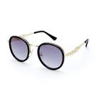 小禮堂 Hello Kitty 圓框抗UV太陽眼鏡 墨鏡 防曬眼鏡 (黑金 2020夏日服飾) 4550337-31248