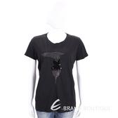 TRUSSARDI 黑色亮片LOGO棉質短袖T恤 1710682-01