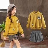 女童套裝冬裝新款洋氣網紅加絨毛衣靴褲兩件套時髦小孩衣服潮流 EY9889[3C環球數位館]
