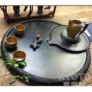 石頭茶盤天然石茶臺 烏金石茶盤整塊大號家用辦公黑金小石磨茶具 快速出貨