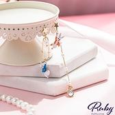 耳環 兔子時鐘珍珠別針不對稱耳環-Ruby s 露比午茶