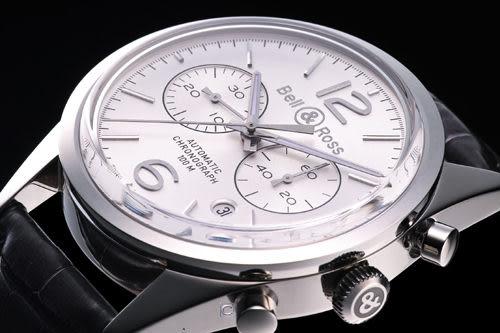 Bell & Ross 空戰菁英 飛行自動計時機械腕錶-(BRG126-WH-ST-SCR)銀白色