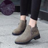 秋冬馬丁靴女英倫風裸靴子女短靴粗跟切爾西女靴正韓百搭學生女鞋