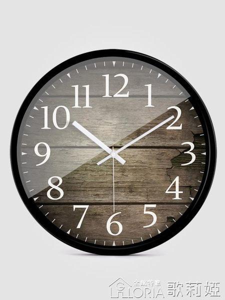 掛鐘 HICAT歐式創意木大號靜音掛鐘現代時尚客廳個性臥室石英時鐘錶 歌莉婭YYJ