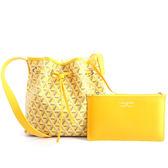 【LANCASTER】IKON系列幾何圖形牛皮側背水桶包(小)(香蕉黃) 418-01 JAUNE
