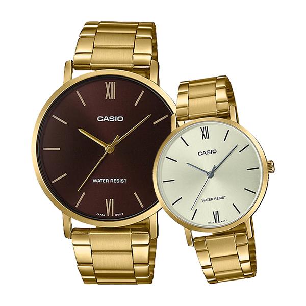 CASIO 手錶專賣店 卡西歐 MTP-VT01G-5B+LTP-VT01G-9B 指針對錶 不鏽鋼錶帶 生活防水 礦物玻璃