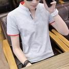 V領男T恤 2021夏季男士短袖t恤潮流大碼立領polo衫v領半袖體恤打底衫男衣服 歐歐