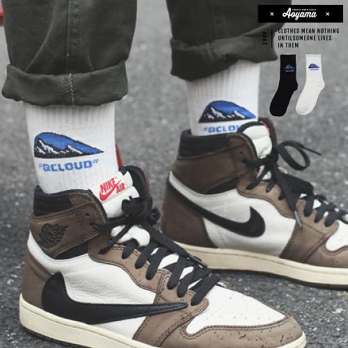襪子 山脈 LOGO 雪山 潮流 街頭中筒襪 穿搭 配件 長襪 滑板 短襪 襪子【AH15】