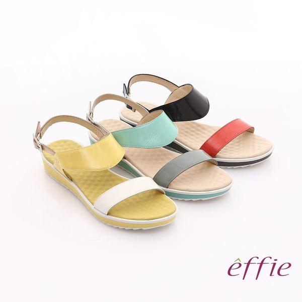 effie 繽紛馬卡龍 鏡面牛皮雙條帶涼鞋 黃