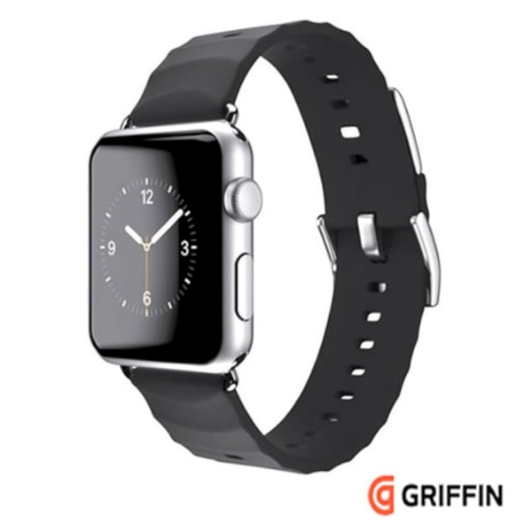 Griffin Trainer Band for Apple Watch 42mm 黑色矽膠材質運動錶帶 (支援Apple Watch Series 1 & Series 2 )