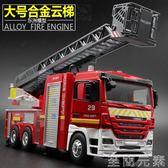 合金消防雲梯車模型玩具大號救火雲救車兒童男孩玩具汽車聲光開門igo 至簡元素