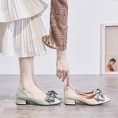 小皮鞋 單鞋女2019夏季新款中跟蝴蝶結粗跟小皮鞋尖頭淺口仙女晚晚秋鞋 嬌糖小屋