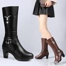 冬季粗跟中女靴子中跟百搭中筒靴加絨媽媽棉靴大碼女士保暖馬靴 可然精品