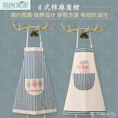 韓版時尚廚房圍裙美甲咖啡店工作服防污卡通罩衣家居做飯棉麻圍裙 晴天時尚館