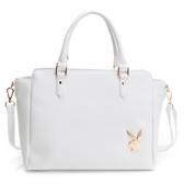PLAYBOY- 手提包可斜背 經典兔頭系列-純白色