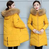 冬裝2018新款反季大毛領羽絨棉服女中長款韓版修身bf加厚棉衣外套