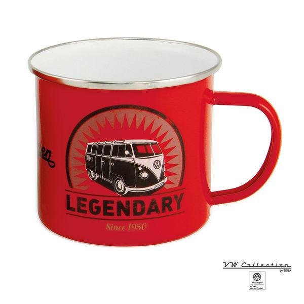 VW Brisa老福斯-T1 Bus 琺瑯馬克杯-紅