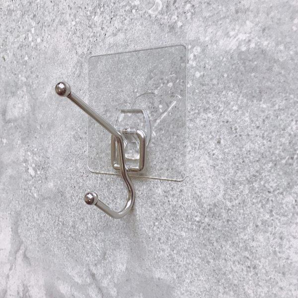 單桿雙掛衣架(掛勾不鏽鋼)耐重 壁掛衣架 超級黏膠 無痕掛勾 耐重 台灣製 免鑽免釘