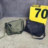 大容量休閒單肩包簡約時尚尼龍斜背包男女短途旅行袋運動健身包包 深藏blue