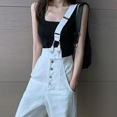 白色單肩牛仔吊帶褲女春季韓版寬鬆高腰直筒寬管褲子2021年新款時尚 【端午節特惠】