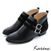 全真皮拼接雙帶飾釦短靴-黑色‧MIT台灣製‧karine