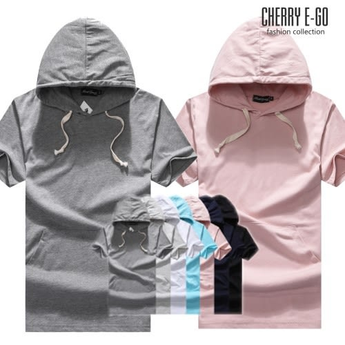 Cherry e購【K6406】潮男/情侶,百搭純色落肩寬鬆連帽短袖棉T_7色