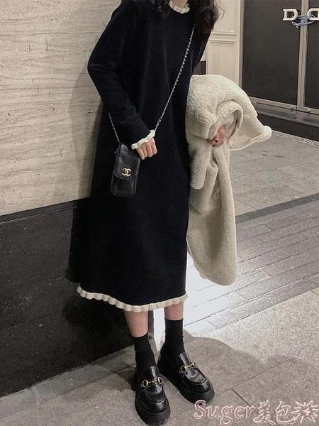 針織洋裝 赫本風小黑裙女秋冬新款法式溫柔風毛衣裙過膝內搭針織連身裙長款 suger