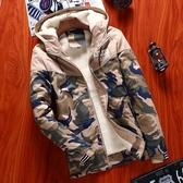 迷彩風衣冬季潮流棉服 時尚夾克外套加絨 百搭加厚男生外套 男士外套厚款 日系韓版外套羽絨外套