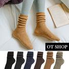 OT SHOP[現貨]襪子 中筒襪 女款 羊毛混紡 素色 雪花 點點 保暖 復古 黑/深灰/藏青/深咖/黃/卡其 M1171