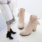 短靴粗跟 鞋碼[33-45] 磨砂短筒粗跟馬丁靴女網紅靴子復古英倫風高跟鞋 - 歐美韓