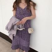 秋季新款韓版V領碎花吊帶裙紫色雪紡連身裙中長款裙子