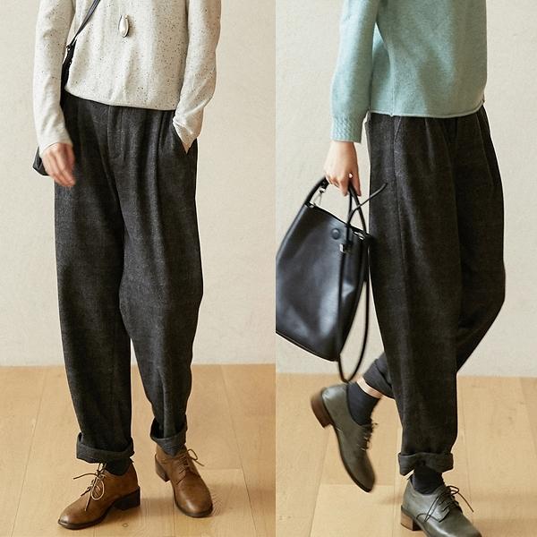 暗格加厚羊毛休閒寬鬆寬管直筒褲/設計家 K20864