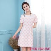 【RED HOUSE 蕾赫斯】粉嫩圓點蝴蝶結洋裝(粉色)
