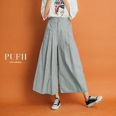 (現貨-杏)PUFII-寬褲 質感雙釦壓摺鬆緊腰長寬褲 3色-0621 現+預 夏【CP14860】