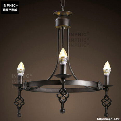 INPHIC- 美式鄉村歐式餐廳客廳咖啡廳服裝店田園復古蠟燭鐵藝吊燈_S197C