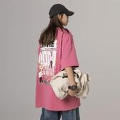 短袖t恤女上衣2020新款夏季韓版寬鬆大碼粉色印花學生ins潮半袖bf 童趣屋