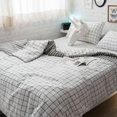Cube&Line【床包黑白格子】S4單人床包雙人兩用被3件組  四季磨毛布 北歐風 台灣製造 棉床本舖