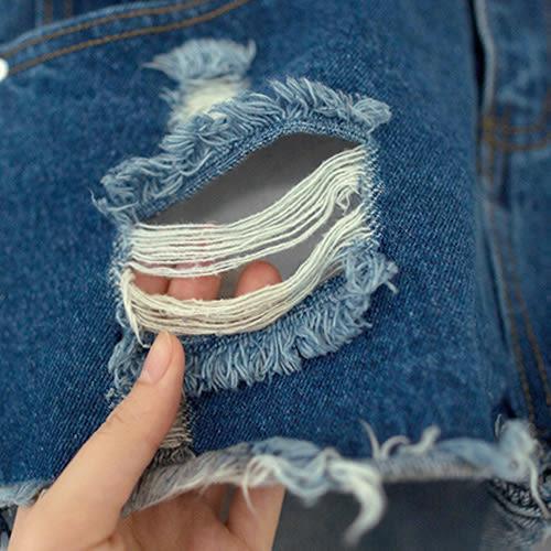 MIUSTAR 率性刷破皮標雙口袋白釦丹寧短褲(共2色,S-XL)【ND0356EW】預購
