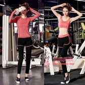 瑜珈服 套裝女秋冬健身房專業運動套裝跑步服長袖速幹衣三件套 6色 交換禮物