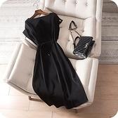 洋裝-純色簡約優雅繫帶收腰連身裙73sz24[時尚巴黎]