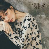 Queen Shop【01070903】滿版豹紋針織厚實毛衣 兩色售*現+預*