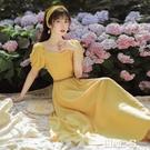 法式方領夏復古新款溫柔可甜可鹽森系初戀收腰氣質顯瘦黃色洋裝