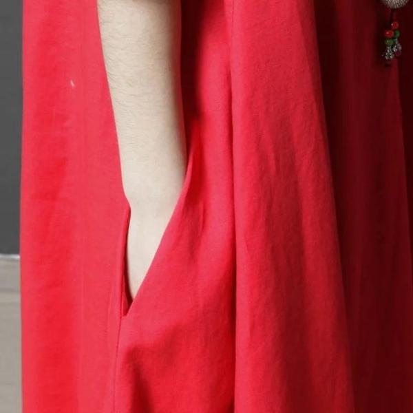 洋裝 連身裙 2020夏季新款文藝寬鬆休閒亞麻刺繡長裙大碼休閒短袖棉麻洋裝女