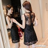 夜店女裝 2020夏天新款夜店女裝露背無袖性感蕾絲洋裝法式桔梗裙流行裙子